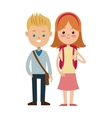 back to school two students boy and gril vector image vector image