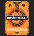 basketball sport poster with leather ball vector image vector image