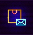 box mail neon sign vector image vector image