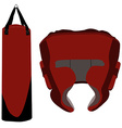 Boxing bag and helmet vector image vector image