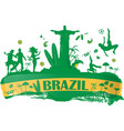brazil banner with icon vector image