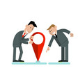 businessmen put a label on a map vector image