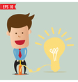 Cartoon Business man pumping idea balloon vector image vector image