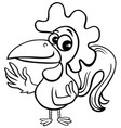 cartoon rooster farm animal character coloring vector image