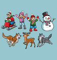 cartoon set of kids in winter activity vector image vector image
