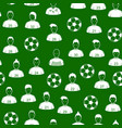cartoon soccer players and ball seamless pattern vector image vector image