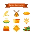 Cereal cultivation and farming icon set vector image