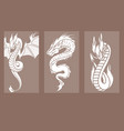 chinese dragon silhouettes tattoo mythology tail vector image vector image