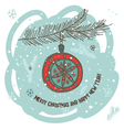 Christmas greeting card with bauble vector image