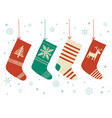christmas stockings background cartoon vector image vector image