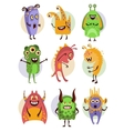 Colourful Emotional Cartoon Monsters vector image vector image
