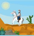 cowboy on horse in desert vector image vector image