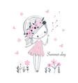 cute little cartoon girl white flowers vector image vector image