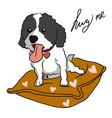 cute shih tzu dog sit on heart pillow cartoon vector image