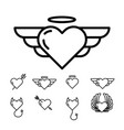 design with heart halo wings and horns template vector image