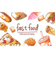 fast food background on white vector image