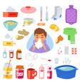 flu sick character with fever and illness vector image