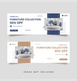 furniture sale facebook cover banner ad template vector image vector image
