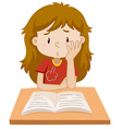 Girl reading book on the table vector image vector image
