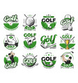 golf sport icons balls and clubs emblems set vector image