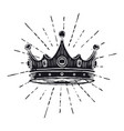 hand drawn crown on white vintage engraved vector image