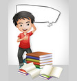 happy boy and stack of books vector image vector image