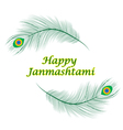 Happy janmashtami Indian feast of the birth of Kri vector image
