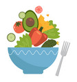 healthy food concept vegetable salad coming out vector image vector image