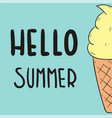 hello summer ice cream blue background imag vector image vector image