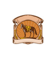 Horse Western Saddle Scroll Woodcut vector image vector image