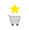 icon concept star symbol with shopping cart vector image vector image