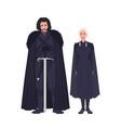jon snow and daenerys targaryen dressed in black vector image