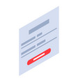 login web page icon isometric style vector image