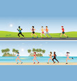 marathon runners compete on tropical beach and vector image