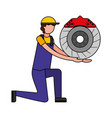 mechanic on knee with brake disc auto part vector image