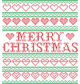 merry christmas nordic hearts pattern vector image vector image