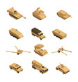 military vehicles isometric icon set vector image