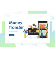 money transfer website landing page design vector image