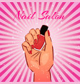 nail salon vintage background with female vector image vector image
