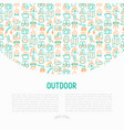 outdoor concept with thin line icons vector image vector image