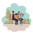 parents couple with daugether sitting in park vector image vector image