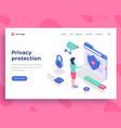 privacy protection concept office woman interact vector image