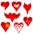 red heart shape original design set vector image vector image