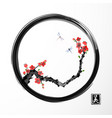 red sakura cherry tree and two blue dragonflies in vector image vector image