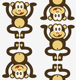 seamless cute little monkey pattern vector image vector image