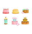 set cakes decorated with berries and flowers vector image vector image