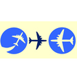 set of airplane buttons vector image vector image