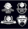 set of basketball sport emblems design element vector image vector image