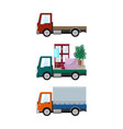 set of cargo trucks on a white background vector image