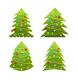 set of decorative christmas trees vector image vector image